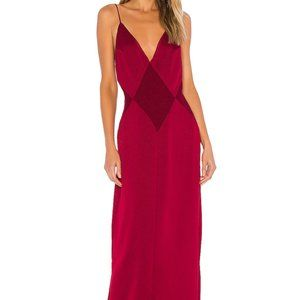 L'Academie The Joelle Maxi Dress in Rumba Red NWT